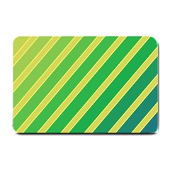 Green and yellow lines Small Doormat