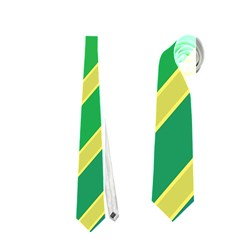 Green and yellow lines Neckties (One Side)