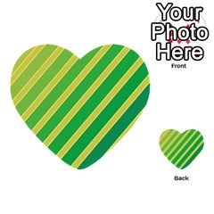 Green and yellow lines Multi-purpose Cards (Heart)