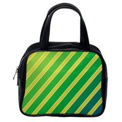 Green and yellow lines Classic Handbags (One Side)