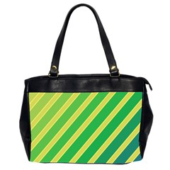 Green and yellow lines Office Handbags (2 Sides)