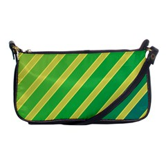 Green and yellow lines Shoulder Clutch Bags