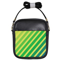 Green and yellow lines Girls Sling Bags