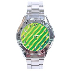 Green and yellow lines Stainless Steel Analogue Watch