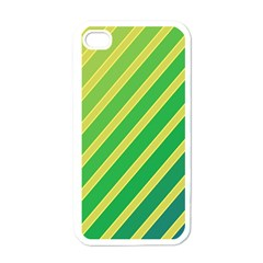 Green and yellow lines Apple iPhone 4 Case (White)