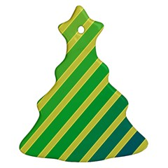 Green and yellow lines Christmas Tree Ornament (2 Sides)