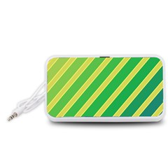 Green and yellow lines Portable Speaker (White)