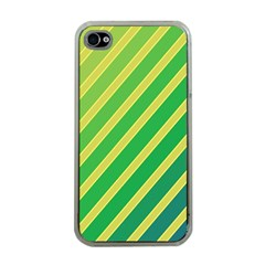 Green and yellow lines Apple iPhone 4 Case (Clear)