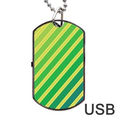 Green and yellow lines Dog Tag USB Flash (One Side)