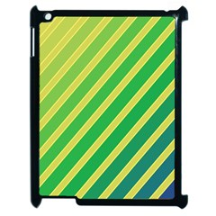 Green and yellow lines Apple iPad 2 Case (Black)