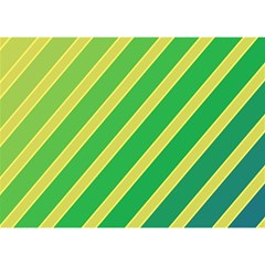Green and yellow lines Birthday Cake 3D Greeting Card (7x5)