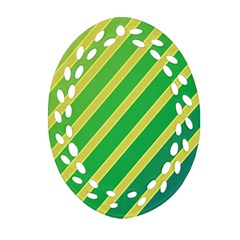 Green and yellow lines Oval Filigree Ornament (2-Side)