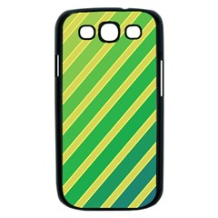 Green and yellow lines Samsung Galaxy S III Case (Black)