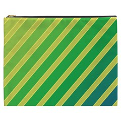 Green and yellow lines Cosmetic Bag (XXXL)
