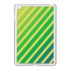 Green and yellow lines Apple iPad Mini Case (White)