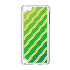 Green and yellow lines Apple iPod Touch 5 Case (White)
