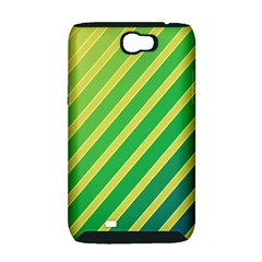 Green and yellow lines Samsung Galaxy Note 2 Hardshell Case (PC+Silicone)
