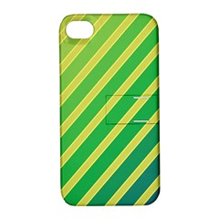 Green and yellow lines Apple iPhone 4/4S Hardshell Case with Stand