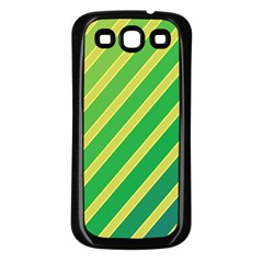 Green and yellow lines Samsung Galaxy S3 Back Case (Black)
