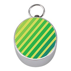 Green and yellow lines Mini Silver Compasses
