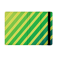 Green and yellow lines iPad Mini 2 Flip Cases