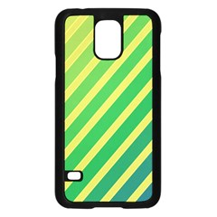 Green and yellow lines Samsung Galaxy S5 Case (Black)