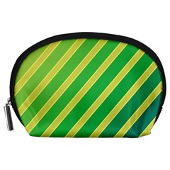 Green and yellow lines Accessory Pouches (Large)