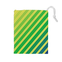 Green and yellow lines Drawstring Pouches (Large)