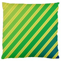 Green and yellow lines Large Flano Cushion Case (One Side)