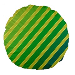 Green and yellow lines Large 18  Premium Flano Round Cushions