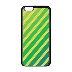 Green and yellow lines Apple iPhone 6/6S Black Enamel Case