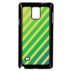 Green and yellow lines Samsung Galaxy Note 4 Case (Black)