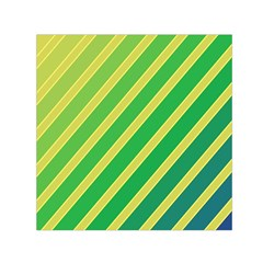 Green and yellow lines Small Satin Scarf (Square)