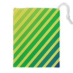 Green and yellow lines Drawstring Pouches (XXL)