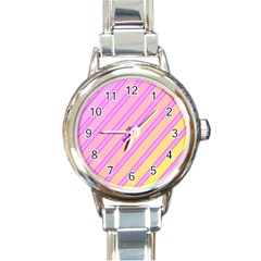Pink and yellow elegant design Round Italian Charm Watch