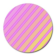 Pink and yellow elegant design Round Mousepads