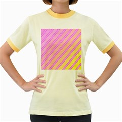Pink and yellow elegant design Women s Fitted Ringer T-Shirts