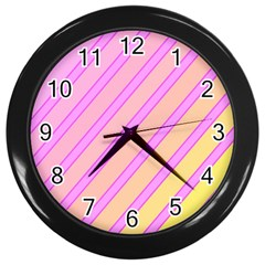 Pink and yellow elegant design Wall Clocks (Black)