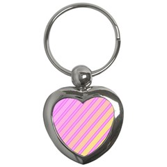 Pink and yellow elegant design Key Chains (Heart)