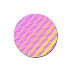 Pink and yellow elegant design Rubber Coaster (Round)