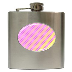 Pink and yellow elegant design Hip Flask (6 oz)