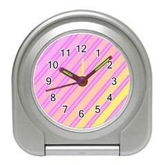 Pink and yellow elegant design Travel Alarm Clocks