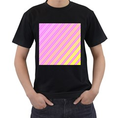 Pink and yellow elegant design Men s T-Shirt (Black) (Two Sided)