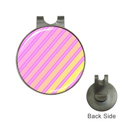 Pink and yellow elegant design Hat Clips with Golf Markers
