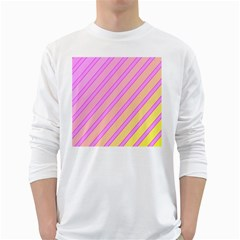 Pink and yellow elegant design White Long Sleeve T-Shirts