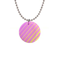Pink and yellow elegant design Button Necklaces