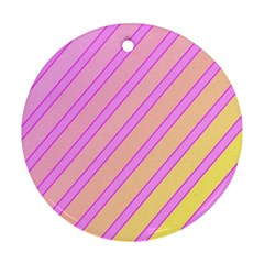 Pink and yellow elegant design Round Ornament (Two Sides)