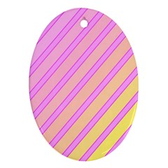 Pink And Yellow Elegant Design Oval Ornament (two Sides)