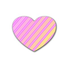 Pink and yellow elegant design Heart Coaster (4 pack)