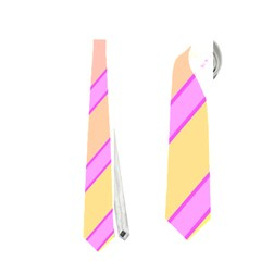 Pink and yellow elegant design Neckties (Two Side)